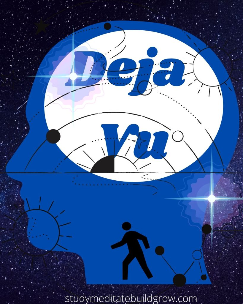 outline of a face, in space, stars, galaxy. with the word deja vu over the image.