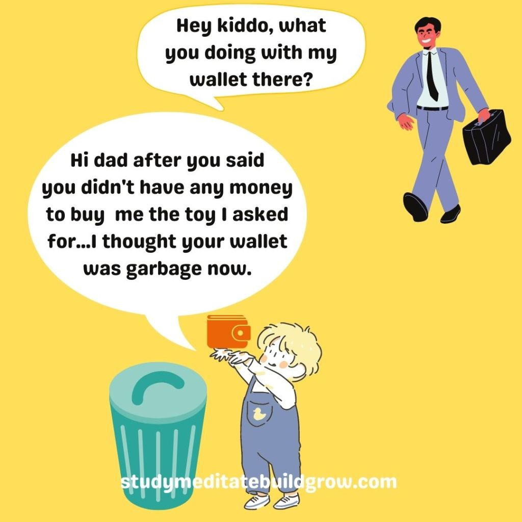 Business man walking towards his son. His son has dad's wallet, and is about to trough it into the garbage.