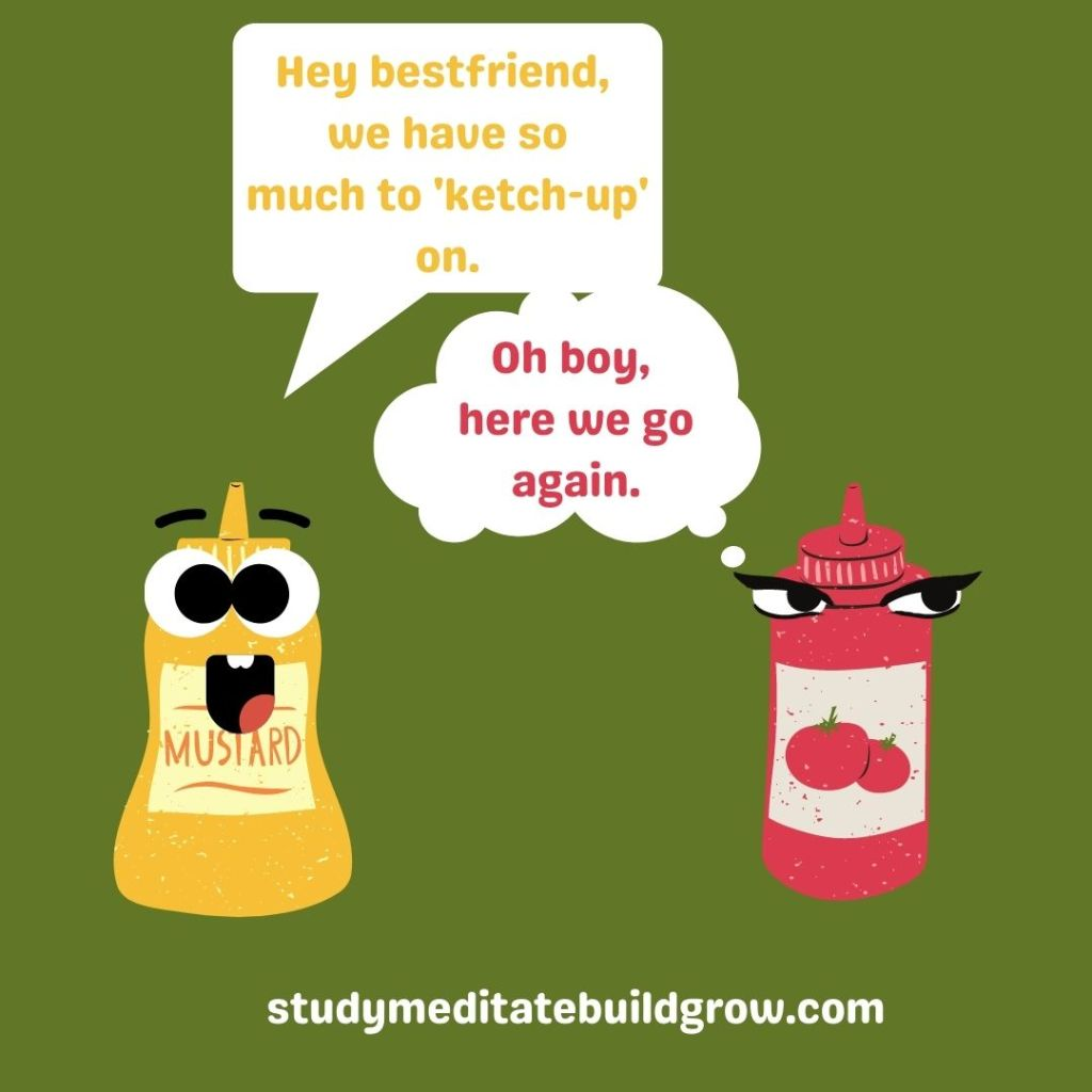 Yellow mustard, talking to friend red ketchup.